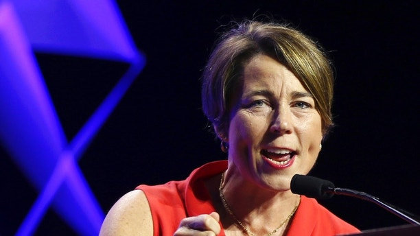 FILE - In this June 1, 2018 file photo, Massachusetts Attorney General Maura Healey speaks at the 2018 Massachusetts Democratic Party Convention in Worcester, Mass. Massachusetts has sued the maker of OxyContin over the deadly opioid crisis and has become the first state to also target the company's executives. Healey announced the lawsuit Tuesday, June 12 against Purdue Pharma and 16 current and former executives and board members, including CEO Craig Landau. (AP Photo/Elise Amendola, File)