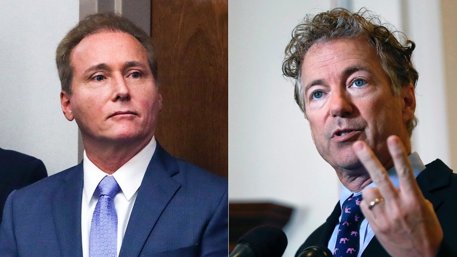 Rene Boucher, left, is scheduled to be sentenced Friday for his assault on U.S. Sen. Rand Paul, R-Ky.