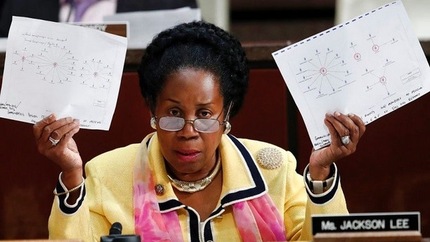Rep. Sheila Jackson Lee, D-Texas, asks a question during a joint hearing with testimony from Department of Justice Inspector General Michael Horowitz, during a joint House Committee on the Judiciary and House Committee on Oversight and Government Reform hearing examining Horowitz's report of the FBI's Clinton email probe, on Capitol Hill, Tuesday, June 19, 2018 in Washington. (AP Photo/Jacquelyn Martin)