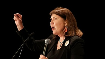 FILE - In this Nov. 8, 2016, file photo, Democratic senatorial candidate U.S. Rep. Ann Kirkpatrick, D-Ariz., speaks to supporters during an election night party in Phoenix. A judge has ruled Tuesday, June 19, 2018, congressional candidate Kirkpatrick can appear on the Aug. 28 primary ballot even though her residency information was incorrectly stated on some her campaign documents. A lawsuit funded by one of Kirkpatrick's opponents sought to kick her off the ballot. (AP Photo/Matt York, File)
