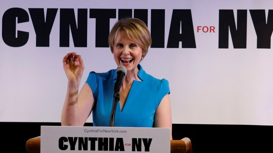 Actress Cynthia Nixon announces that she is running for governor of New York at a campaign stop in Brooklyn, March 20, 2018.