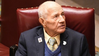 In this Wednesday, June 20, 2018 photo, Sen. William Larkin, Jr., R-New Windsor talks with a reporter in the Senate Chamber at the state Capitol during the last scheduled day of the legislative session in Albany, N.Y. Larkin cast what are likely his final Senate votes earlier this week as the Legislature wrapped up its 2018 session. Larkin served in the Assembly from 1979 to 1990 before winning the first of 20 two-year terms representing a section of the Hudson Valley. (AP Photo/Hans Pennink)