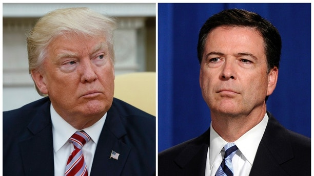 In this combination photo, President Donald Trump, left, appears in the Oval Office of the White House in Washington on May 10, 2017, and FBI Director James Comey appears at a news conference in Washington on June 30, 2014.  Comey is making his first public comments since being fired by President Donald Trump and, according to his prepared remarks, will talk about the president's efforts put the investigation behind him. (AP Photo/Evan Vucci, left, and Susan Walsh, File)