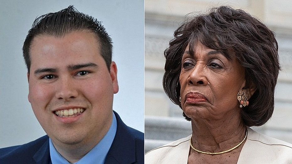 Omar Navarro, left, a 29-year-old Republican, is seeking to oust California Rep. Maxine Waters, right, from her seat in November. He is seizing on the liberal Democrat's inflammatory, anti-Trump comments to try to bolster his long-shot bid.