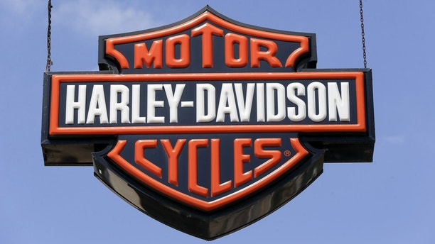 Dealership signs are at a Harley-Davidson dealership, Wednesday, April 26, 2017 in Glenshaw, Pa.