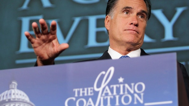 WASHINGTON, DC - MAY 23:  Republican presidential candidate, former Massachusetts Gov. Mitt Romney addresses the Latino Coalition's 2012 Small Business Summit at the U.S. Chamber of Commerce on May 23, 2012 in Washington, DC.  Romney centered his speech on the state of the American education system while addressing the coalition's luncheon.  (Photo by Mario Tama/Getty Images)