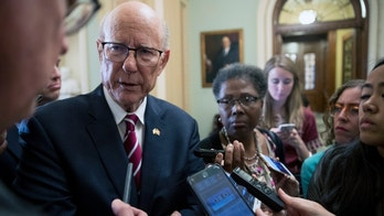 Sen. Pat Roberts, R-Kan., speaks with reporters on the farm bill following a closed door luncheon on Capitol Hill in Washington, Tuesday, June 26, 2018. (AP Photo/Andrew Harnik)