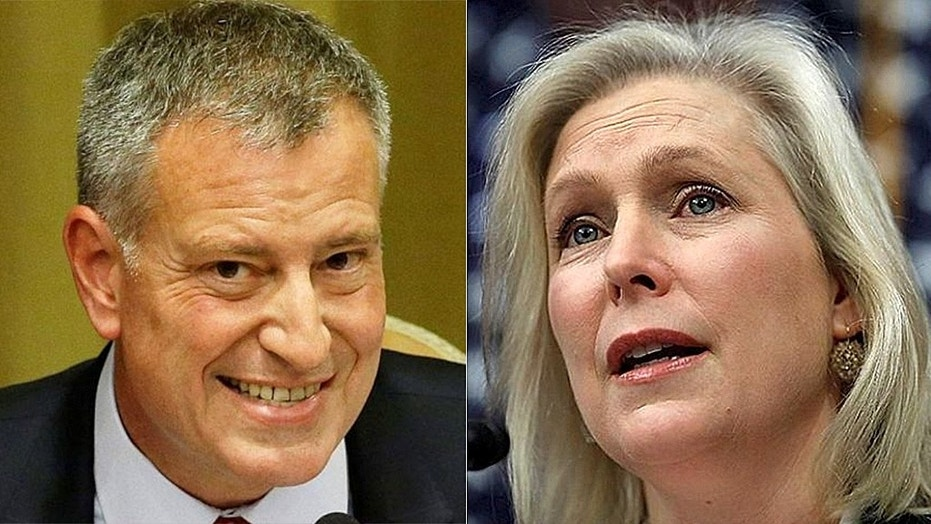 New York Democrat Senator Kirsten Gillibrand and New York Mayor Bill de Blasio join calls to strip the US Immigration Department.