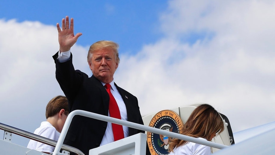 President Trump boarding Air Force One at Andrews Air Force Base in Maryland, June 29, for a trip to Bedminster, New Jersey.