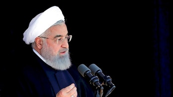 "In this photo released by an official website of the office of the Iranian Presidency, President Hassan Rouhani speaks in the northeastern city of Sabzevar, on his tour of Razavi Khorasan province, Sunday, May 6, 2018. Iran's president is warning President Donald Trump that pulling America out of the nuclear deal with world powers would be a ""historic regret."" (Iranian Presidency Office via AP)"