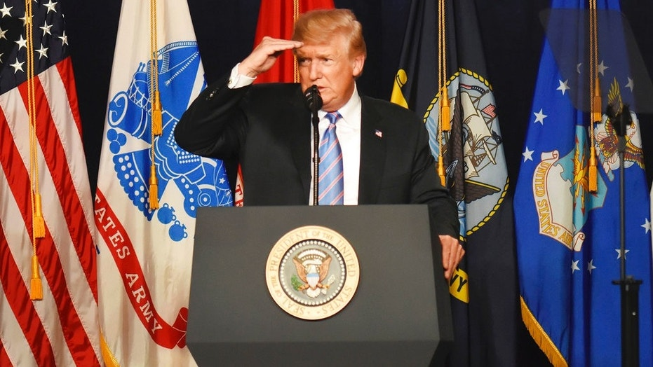 President Donald Trump speaks at a Salute to Service charity dinner in conjunction with the PGA Tour's Greenbrier Classic at the Greenbrier in White Sulphur Springs, W.Va., July 3, 2018.