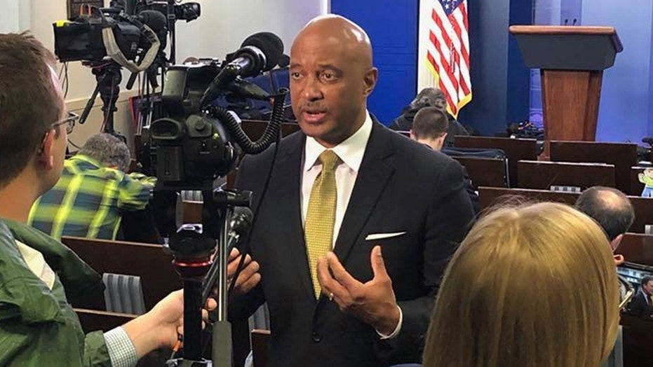 FILE: Curtis Hill, seen earlier at the White House, plans to address calls for him to resign amid allegations that he touched several women.