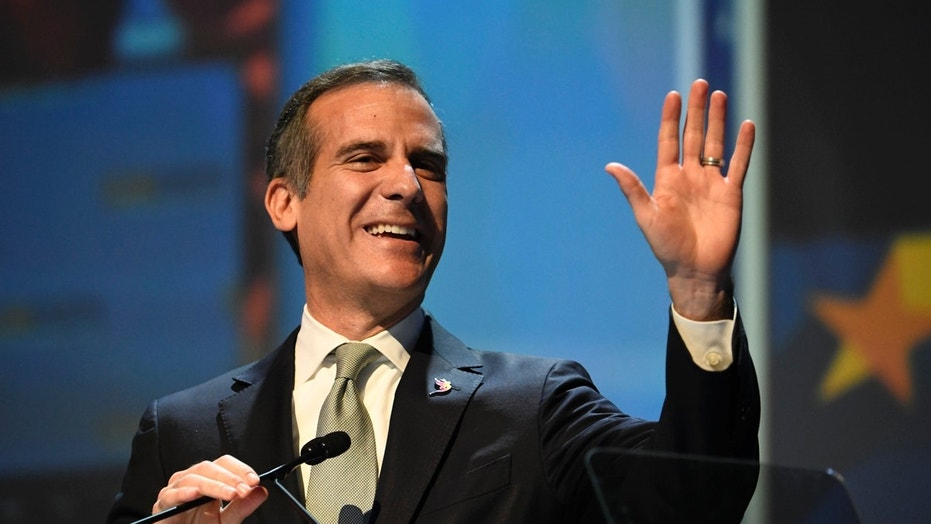 Los Angeles Mayor Eric Garcetti speaks in San Diego, Calif., Feb. 24, 2018.