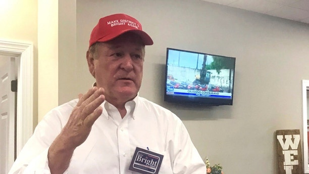 FILE - In this May 30, 2018, file photo, former congressman Bobby Bright speaks in Enterprise, Ala. Rep. Martha Roby, one of a handful of Alabama Republicans who criticized Donald Trump during his presidential campaign, has been forced into a July runoff for the GOP nomination for her seat. Roby will face Bright in the runoff in the state's 2nd congressional district, a conservative swath where loyalty to Trump became a central issue of the midterm primary. (AP Photo/Kim Chandler, File)