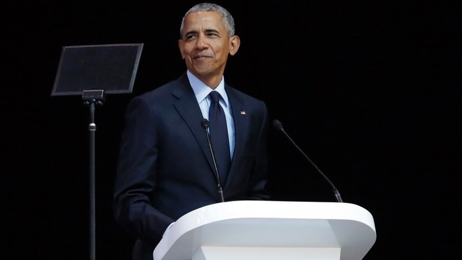 Former U.S. President Barack Obama delivers his speech at the 16th Annual Nelson Mandela Lecture in Johannesburg, South Africa, July 17, 2018.