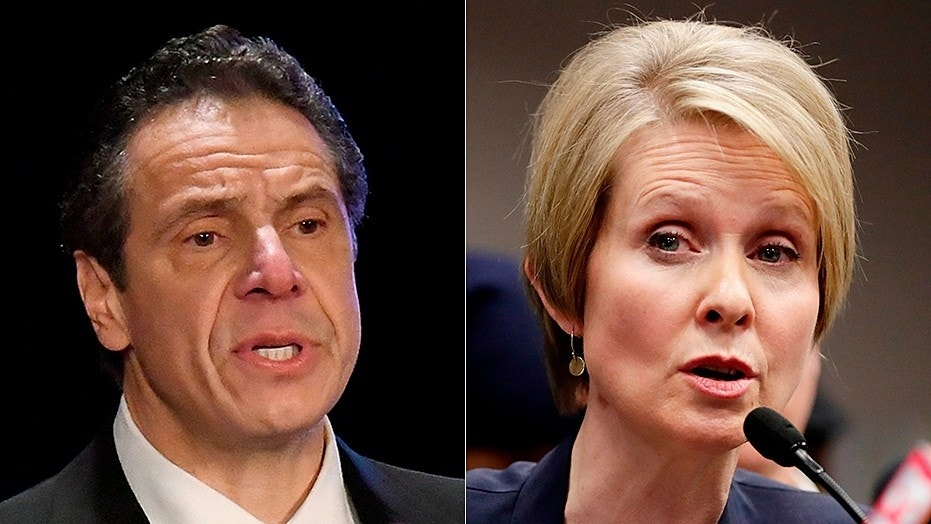 """New York Gov. Andrew Cuomo, left, is under fire for trying to """"manipulate"""" campaign donor statistics, though his opponent, Cynthia Nixon, right, also is taking in tiny contributions."""