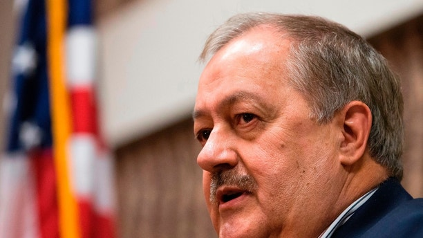 FILE - In this Jan. 18, 2018, file photo, former Massey CEO and West Virginia Republican Senatorial candidate, Don Blankenship, speaks during a town hall to kick off his campaign in Logan, W.Va. Blankenship doesn't care if his party and his president don't think he can beat Democratic Sen. Joe Manchin this fall. This former coal mining executive, an ex-convict released from prison less than a year ago, is willing to risk his personal fortune and the Republican Party's golden opportunity in West Virginia for the chance to prove them all wrong. (AP Photo/Steve Helber, File)