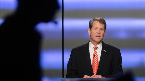 Georgia Republican gubernatorial candidate Brian Kemp participates in a debate Sunday, May 20, 2018, in Atlanta. (AP Photo/John Amis)