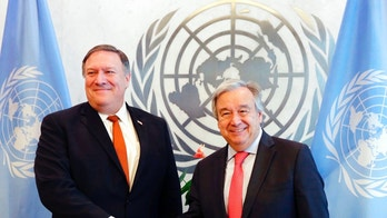 U.S. Secretary of State Mike Pompeo, left, and United Nations Secretary General Antonio Guterres shake hands prior to a meeting, Friday, July 20, 2018 at the United Nations. (AP Photo/Richard Drew)