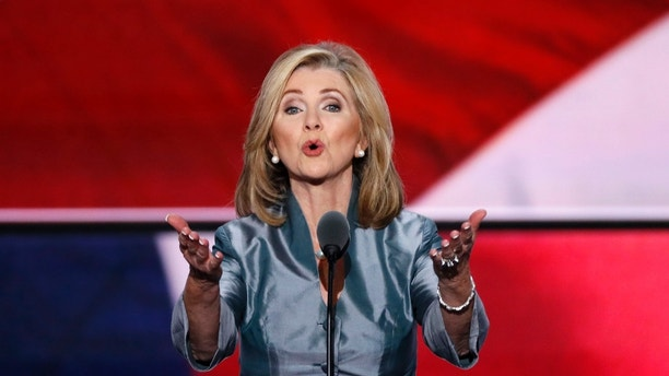 Representative Marsha Blackburn (R-TN) speaks during the final day of the Republican National Convention in Cleveland, Ohio, U.S. July 21, 2016. REUTERS/Mike Segar - HT1EC7M02HG7U