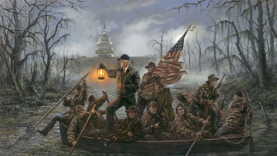 """Jon McNaughton's """"Crossing the Swamp"""" is a riff on the classic """"Washington Crossing the Delaware,"""" but replacing George Washington's crew with members of President Trump's administration."""