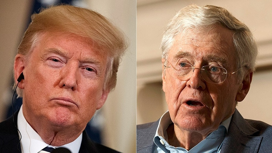 "President Trump, left, blasted Charles Koch, right, and David Koch, as a ""total joke"" after the billionaire duo planned not to back North Dakota GOP Senate candidate Kevin Cramer."