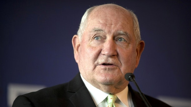 U.S. Secretary of Agriculture Sonny Perdue speaks at an event to celebrate the re-introduction of American beef imports to China, in Beijing, China June 30, 2017. REUTERS/Mark Schiefelbein/Pool - RC1259FB7260