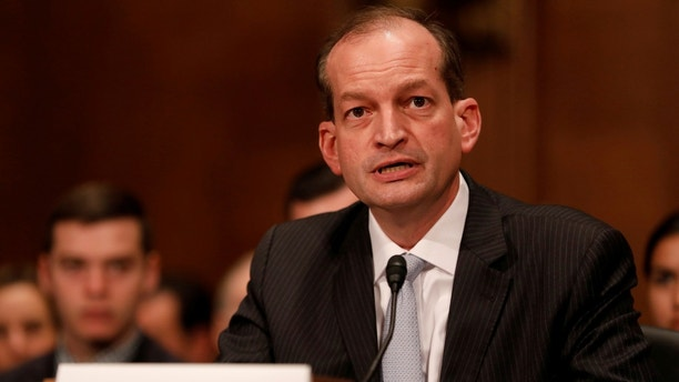 Alex Acosta, President Donald Trump's nominee to be Secretary of Labor, testifies during his confirmation hearing before the Senate Health, Education, Labor, and Pensions Committee on Capitol Hill in Washington, D.C., U.S. March 22, 2017.  REUTERS/Aaron P. Bernstein - RC1A885F7E50