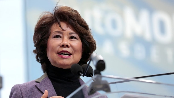 U.S. Secretary of Transportation Elaine Chao speaks ahead of Press Days of the North American International Auto Show at Cobo Center in Detroit, Michigan, U.S., January 14, 2018. REUTERS/Rebecca Cook - RC1C3A60A590