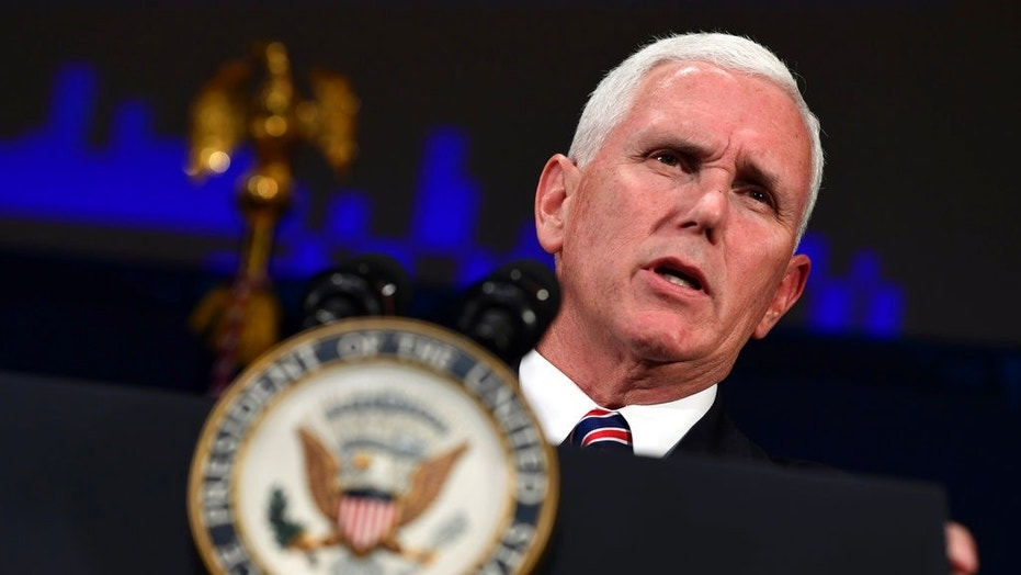 Vice President Mike Pence speaks at the Department of Homeland Security National Cybersecurity Summit in New York City, July 31, 2018.