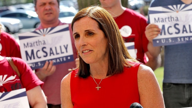 U.S. Rep. Martha McSally, R-Ariz., speaks after delivering her signatures to the Arizona Secretary of State's office Tuesday, May 29, 2018, at the Capitol in Phoenix. McSally is officially running as a Republican for U.S. Senate seat being vacated by retiring Republican Sen. Jeff Flake. Women running for office have crossed another threshold with a record number of candidates for the U.S. Senate. In the two major parties, 42 women are expected to have qualified for 19 Senate seats. (AP Photo/Matt York)