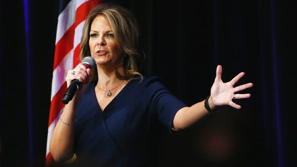 FILE - In this Oct. 17, 2017, file photo, Arizona Senate candidate Kelli Ward speaks at a campaign rally in Scottsdale, Ariz. A possible U.S. Senate vacancy in Arizona would be temporarily filled by a Republican appointee in the event of the death of Sen. John McCain, who is battling cancer, but it's unclear whether an election would be held in November or 2020. Three prominent Republicans are seeking the GOP nominations Kelli Ward, Joe Arpaio and Rep. Martha McSally. (AP Photo/Ross D. Franklin, file)