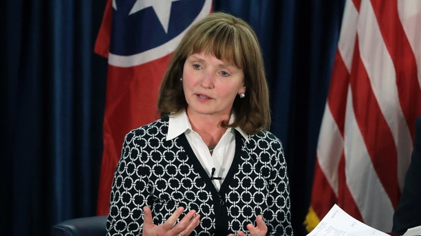 FILE - In this Jan. 19, 2018, file photo, House Speaker Beth Harwell, R-Nashville, participates in a gubernatorial candidate forum in Nashville, Tenn. In TV ads and debates, four leading GOP candidates for Governor have lauded President Donald Trump and his wall-building, sanctuary city-banning immigration crackdown plans, while blasting each other as insufficiently supportive of the president and flimsy on immigration. (AP Photo/Mark Humphrey, File)