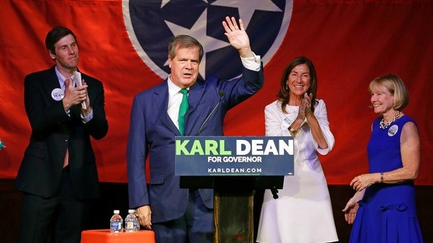 Karl Dean thanks supporters at a victory party after winning the Democratic nomination for Tennessee governor Thursday, Aug. 2, 2018, in Nashville, Tenn. (AP Photo/Mark Humphrey)