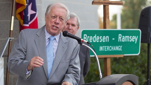 FILE - In a Thursday, Oct. 29, 2015 file photo, former Tennessee Gov. Phil Bredesen speaks at a ceremony in Chattanooga, Tenn. In a letter dated Thursday, March 8, 2018, Bredesen's campaign for U.S. Senate has told the FBI that it fears it has been hacked by someone who tried to trick it into wiring money. Bredesen is running for the open seat in Tennessee vacated by Sen. Bob Corker. (AP Photo/Erik Schelzig, File)
