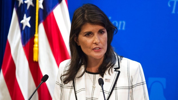 U.S.. Ambassador to the United Nations Nikki Haley speaks at The Heritage Foundation about the U.S. withdrawal from the U.N. Human Rights Council, in Washington, Wednesday, July 18, 2018. (AP Photo/Cliff Owen)