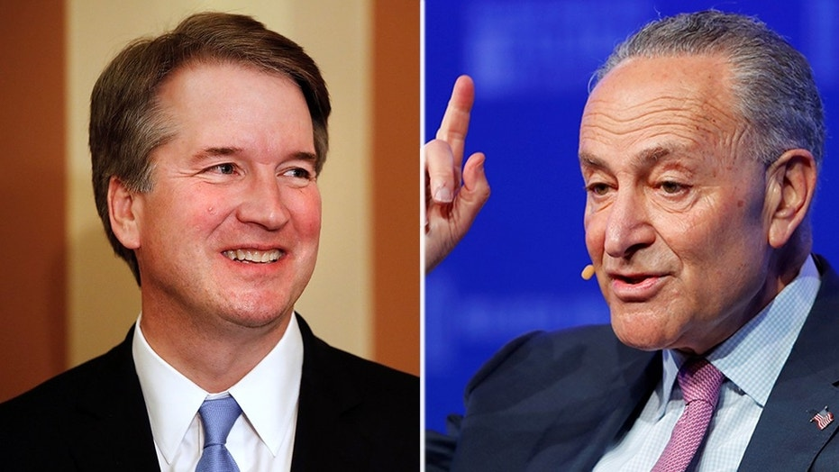 Senator Minority Leader Chuck Schumer D-N.Y. right made a personal appeal to archivist David Ferriero for the records related to Supreme Court nominee Brett Kavanaugh left relating to his time as staff secretary under George W. Bush