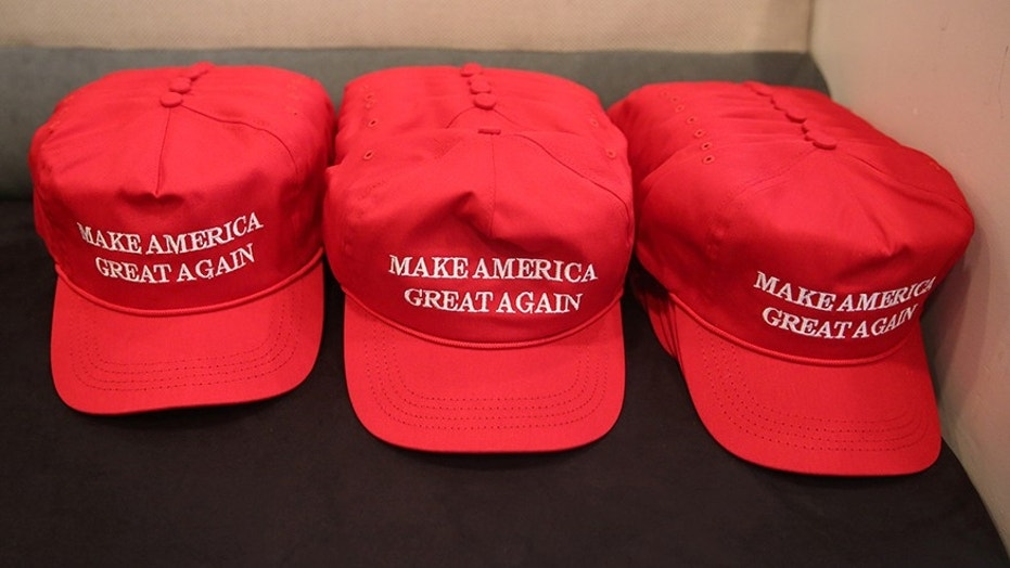 """""""Make America Great Again"""" hats are displayed at Trump Tower in New York City, Aug. 20, 2016."""