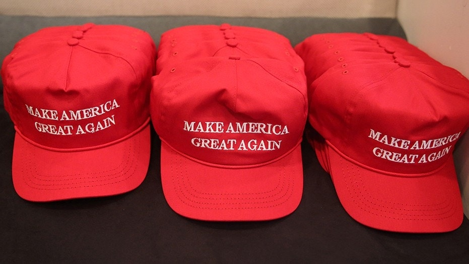 """""""Make America Great Again"""" hats displayed at Trump Tower in New York City, Aug. 20, 2016."""