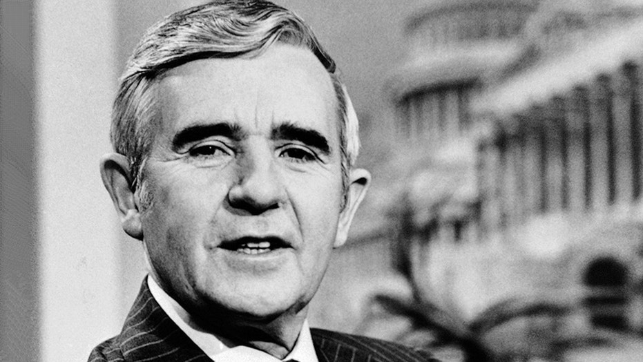 FILE - In this April, 1981 file photo, Senator Paul Laxalt (R-Nev.), appears on ABC's Good Morning America television show in Washington. Laxalt, the conservative Republican who rose to political power as a Nevada governor, U.S. senator and close ally to Ronald Reagan has died at age 96. A public relations firm says he died Monday, Aug. 6, 2018, at a health care facility in Virginia. (AP Photo, File)