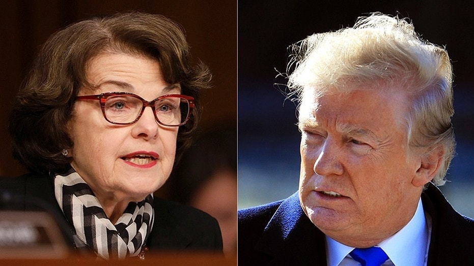 The FBI told Sen. Dianne Feinstein, D-Calif., left, that a member of her staff was under investigation for allegations that he was providing intelligence to the Chinese government, but did not notify then-candidate Donald Trump, right, that members of his campaign were under investigation.