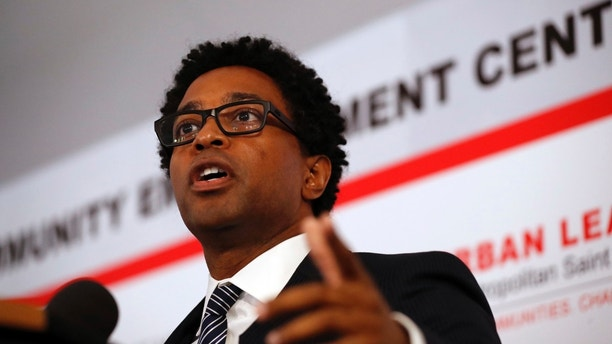 FILE - In this July 26, 2017 photo, Ferguson city council member Wesley Bell speaks during the dedication of a new community empowerment center in Ferguson, Mo. (AP Photo/Jeff Roberson, File)