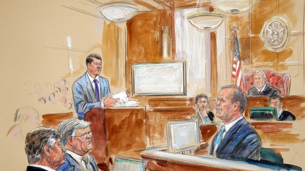 This courtroom sketch depicts Rick Gates, right, testifying during questioning by prosecutor Greg Andres, standing at left, as former Trump campaign chairman Paul Manafort, far left, sits with his lawyer Kevin Downing as Manafort's trial continues at federal court in Alexandria, Va., Tuesday, Aug. 7, 2018. U.S. district Judge T.S. Ellis III presides at top right. (Dana Verkouteren via AP)