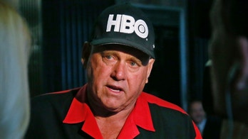 FILE - In this June 13, 2016, file photo, Dennis Hof, owner of the Moonlite BunnyRanch, a legal brothel near Carson City, Nevada, is pictured during an interview in Oklahoma City. County officials in Nevada have yanked a brothel license from the state's most famous pimp who has fashioned himself as a Donald Trump-style candidate for Nevada's legislature. Officials in Southern Nevada's Nye County on Tuesday said Dennis Hof had failed to apply for a renewal and pay fees for his Love Ranch brothel in Crystal, about an hour's drive northwest of Las Vegas. (AP Photo/Sue Ogrocki, File)