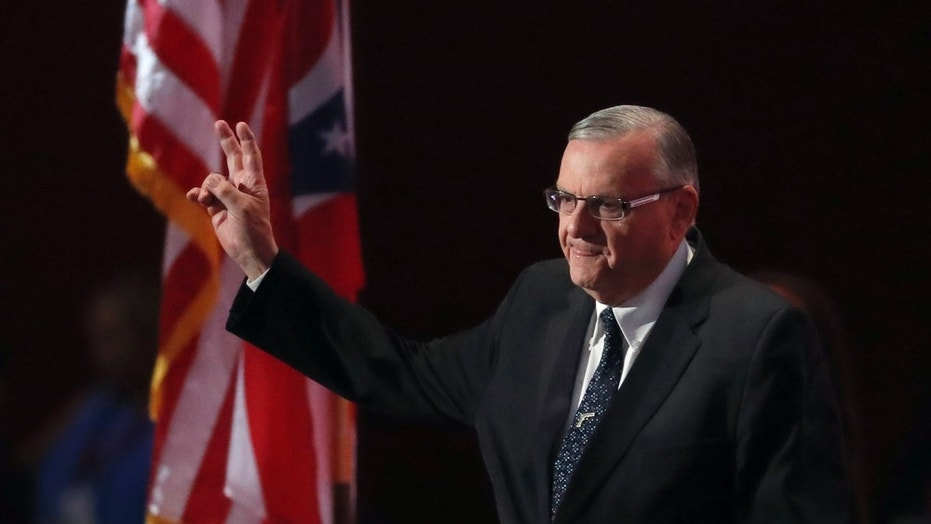Sheriff Joe Arpaio of Arizona walks on the stage to speak during the final day of the Republican National Convention in Cleveland, Thursday, July 21, 2016. (AP Photo/Paul Sancya)