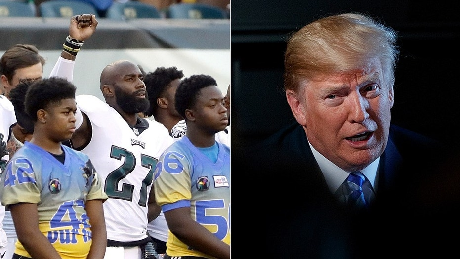 Malcolm Jenkins of the Philadelphia Eagles,left, raised his fist in protest during the National Anthem Thursday. President Trump, right, is criticizing NFL players who choose to protest, and believe they should be suspended without pay.""