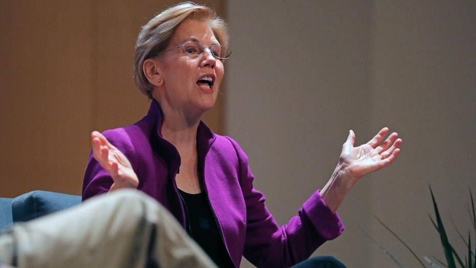 Sen. Elizabeth Warren, D-Mass., takes part in a Q-and-A with Rep. Cedric Richmond, D-La., at Dillard University in New Orleans earlier this month.