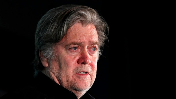 "Former White House Chief Strategist Steve Bannon participates in a Hudson Institute conference on ""Countering Violent Extremism: Qatar, Iran and the Muslim Brotherhood"" in Washington, U.S., October 23, 2017. REUTERS/Kevin Lamarque - RC11D5F802B0"