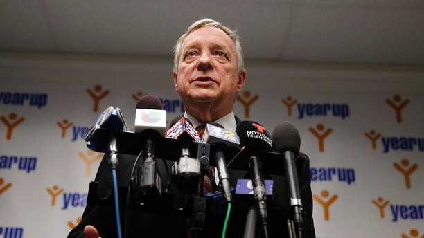 "Sen. Dick Durbin, D-Ill., speaks at a news conference as he visits students of Year Up Chicago, a one-year long job training program that provides low-income young adults, Friday, Jan. 12, 2018, in Chicago. The senator present at a White House immigration meeting says President Donald Trump used vulgar language to describe African countries, saying he ""said these hate filled things and he said them repeatedly."" (AP Photo/Kiichiro Sato)"