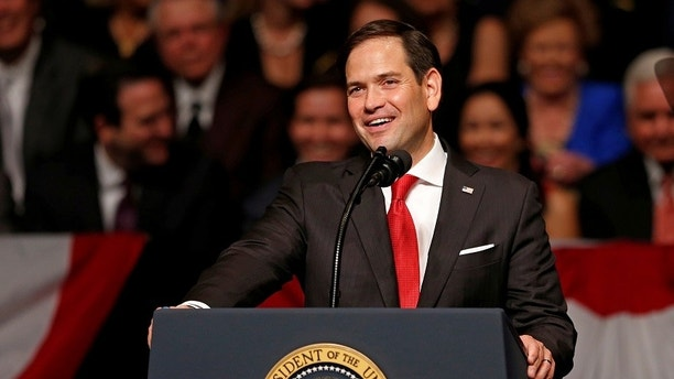 U.S. Sen. Marco Rubio (R-FL) speaks before U.S. President Donald Trump announced his Cuba policy at the Manuel Artime Theater in the Little Havana neighborhood in Miami, Florida, U.S. June 16, 2017. REUTERS/Joe Skipper - RC12FDB8EF40